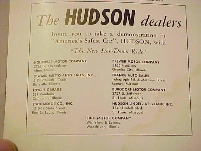 Hudson Motor Car Company Dealerships M