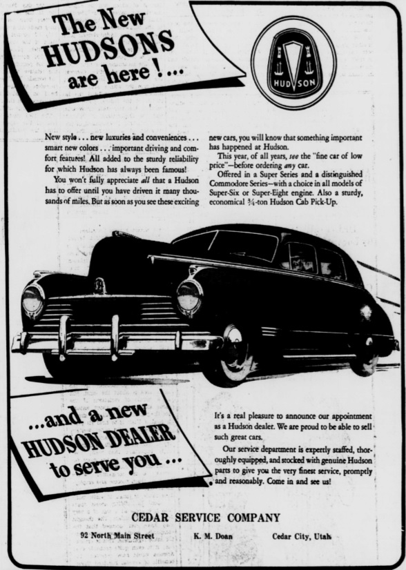 Hudson motor car company dealerships p z for Cedar city motor company