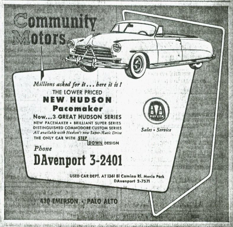 Sf Examiner Classifieds: Hudson Motor Car Company Dealerships A-C