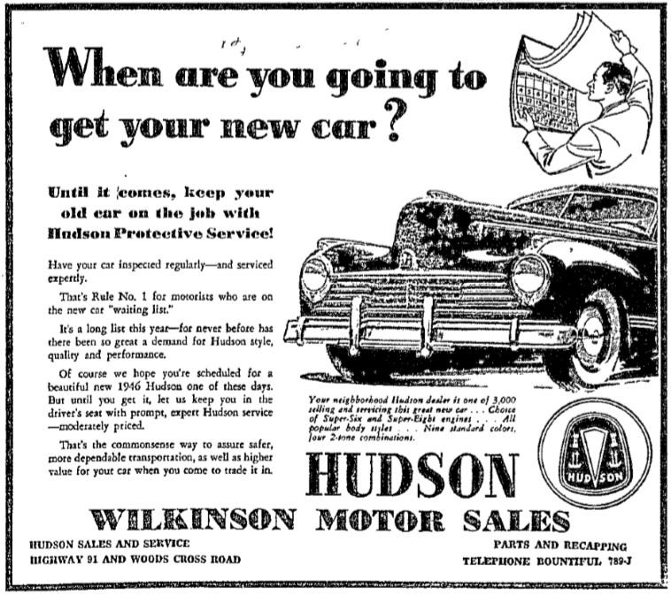 Hudson motor car company dealerships p z for Marstaller motors used cars